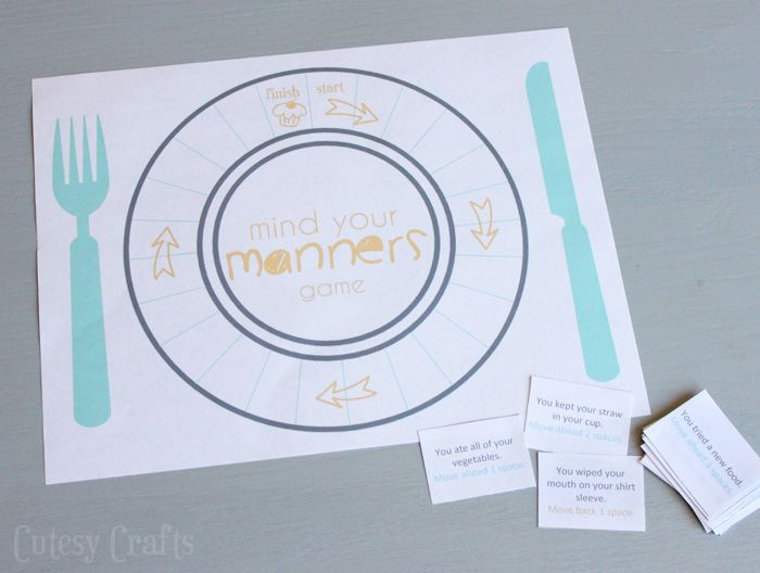 Printable game to teach table manners to kids. #DineInOrderAhead #PMedia #ad