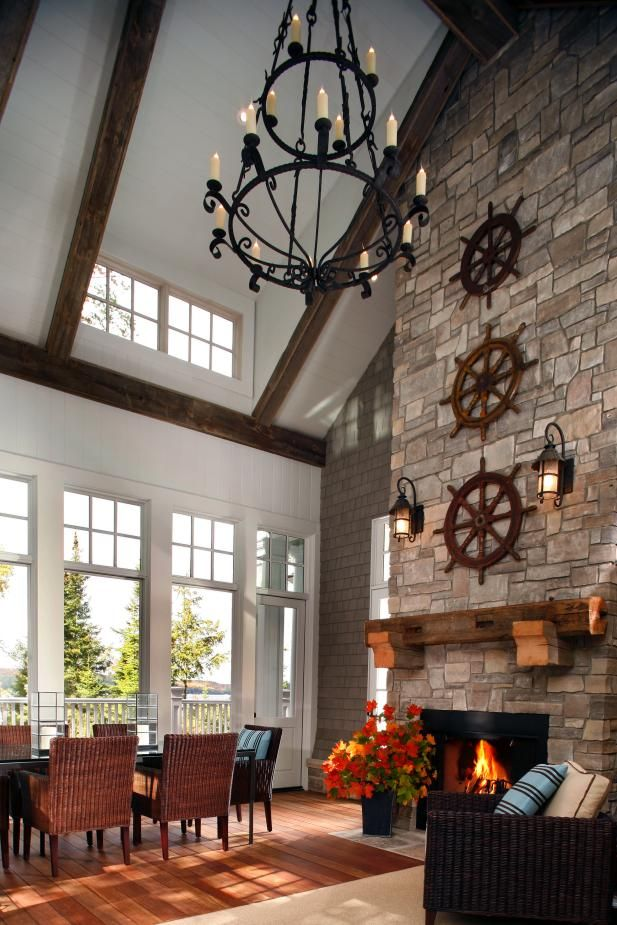 Rustic Dining Room With Vaulted Ceiling