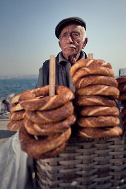 Fresh Turkish simit. A bread served by street vendors often eaten at breakfast with jam.