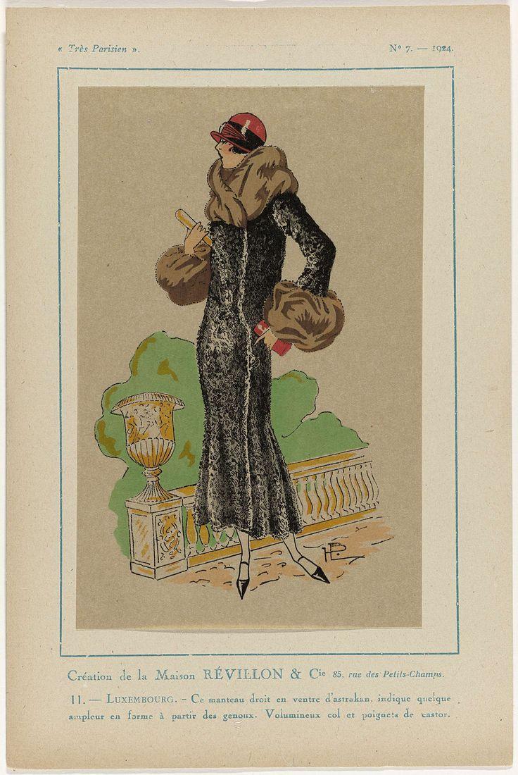 Anonymous | Très Parisien, 1924, No. 7 : Création de la Maison RÉVILLON & Cie..., Anonymous, Révillon & Cie, G-P. Joumard, 1924 | Ontwerp van Maison Révillon & Cie. Mantel, recht model, van astrakan. Grote kraag en manchetten van castor. Accessoires: cloche (pothoed), handtas (?), schoenen met puntige neuzen. Prent uit het modetijdschrift Très Parisien (1920-1936).