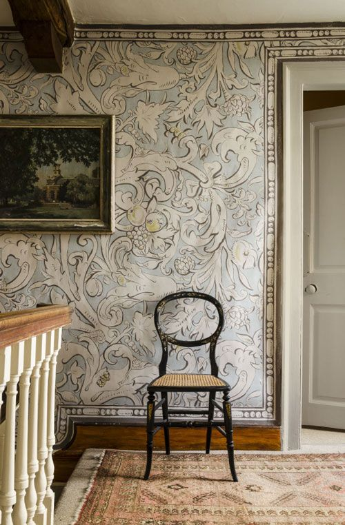 Beautiful wallpaper! Lewis & Wood's Bacchus pattern wallpaper is made from an Elizabethan-inspired wall painting by Melissa White.