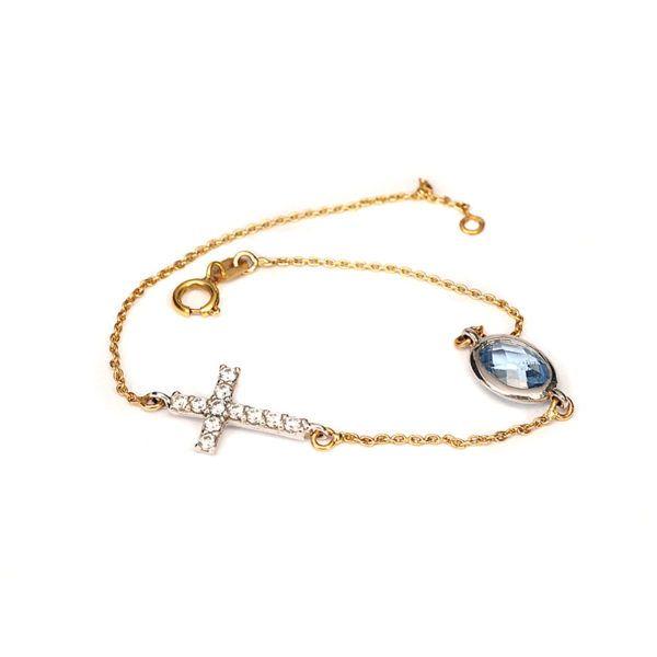 Βραχιόλι σταυρός χρυσό Κ14 γαλάζιο ζιρκόν