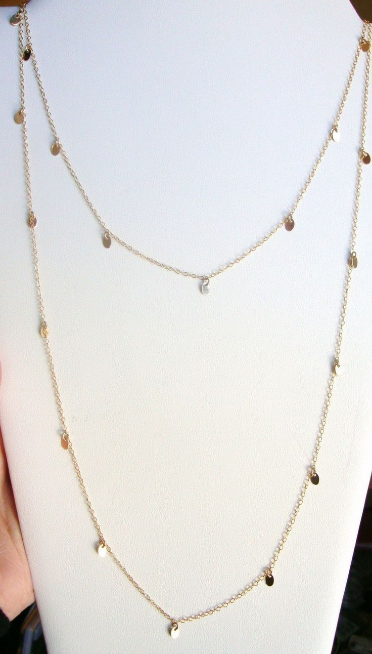 Long Gold Disc Necklace Courtney Cox Cougar Town Gold by lunaCielo, $69.00