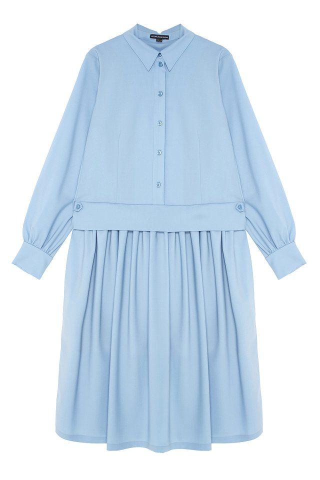 Шерстяное платье Victoria Andreyanova - Оригинальное платье светлого голубого цвета из коллекции российского бренда Victoria Andreyanova в интернет-магазине модной дизайнерской и брендовой одежды