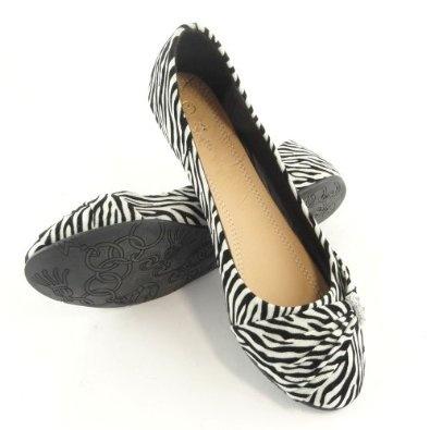 Womens' Zebra Print Rhinestone Ballet Flats