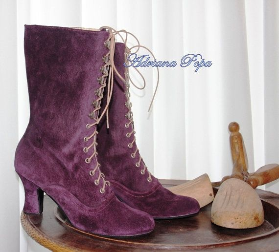 Victorian Boots Ankle Boots Purple suede leather by VictorianBoots, $190.00