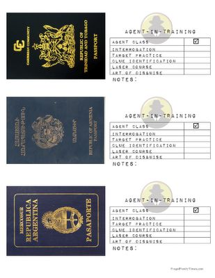"""Frugal Family Times: Family Fun: Secret Agent Birthday Party. I really like the printable passports for different """"countries."""""""