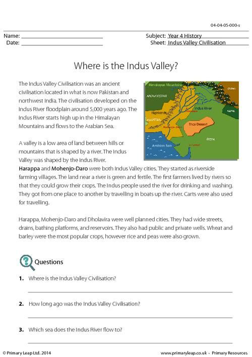 reading comprehension where is the indus valley worksheet history. Black Bedroom Furniture Sets. Home Design Ideas