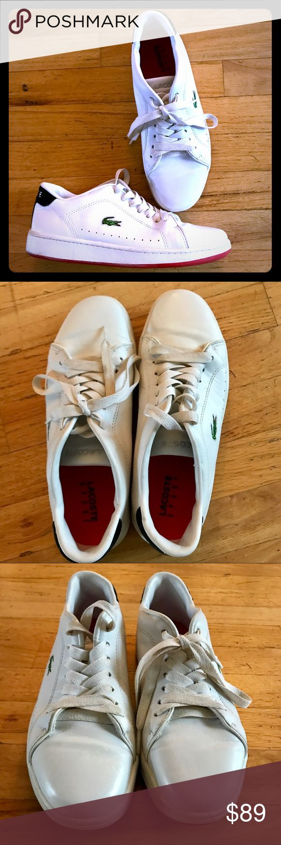 💚ON SALE! Men's Lacoste Leather Sneakers, Size 8 Beautifully cared for pair of Men's Leather Lacoste Sneakers, complete with the alligator on the side! EXCELLENT PRE-OWNED CONDITION, which is hard to do with white sneakers!! 😊😉 Get 'em before they're snatched up! These will go quickly!! Size 8. Lacoste Shoes Sneakers
