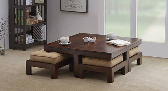 Veroniq Trends Natural Finish Coffee Table Set With 4 Stools And