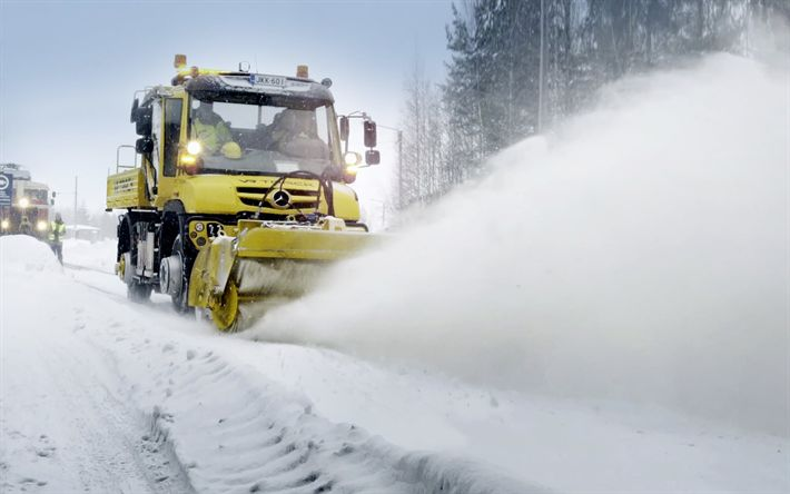 Download wallpapers Mercedes-Benz Unimog, U427, 2018, new trucks, cleaning snow, cleaning roads from snow, concepts, highway, Mercedes