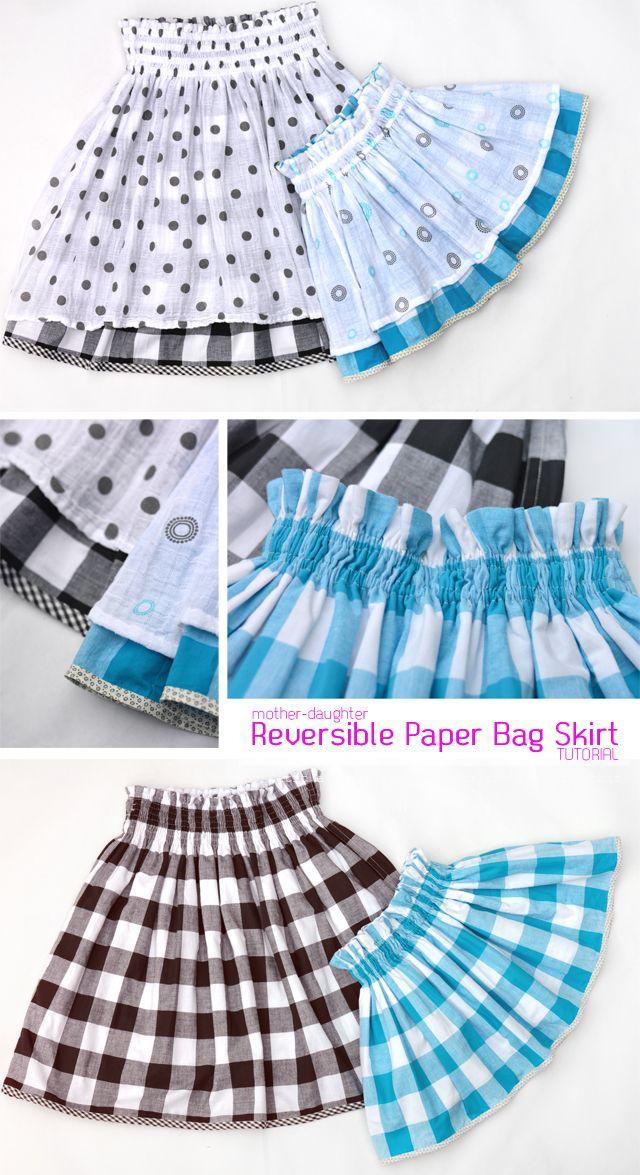 Mother-Daughter Reversible Paper Bag Skirt DIY -