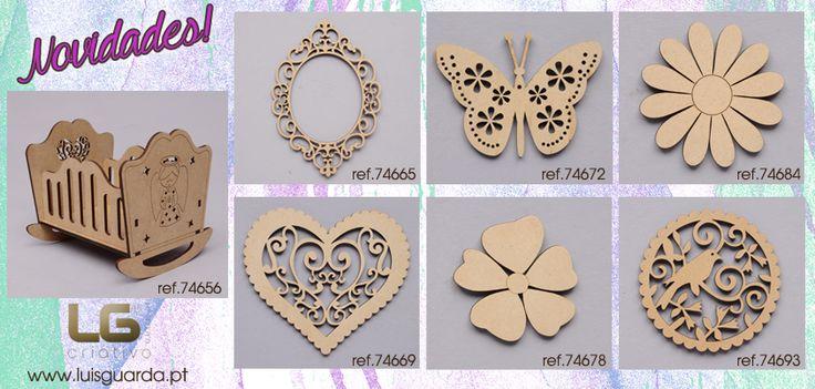Peças cortadas a laser para artes decorativas e artesanato. http://www.luisguarda.pt/produtos/aplicacoes