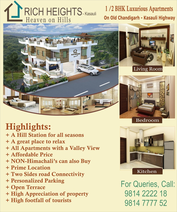 Rich Infra's new project at kasauli Rich Heights Kasauli where you can get 1 bhk, 2 bhk luxury flat at genuine price,