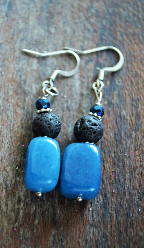 Boho, blue onyx, essential oil diffuser earrings. Bohemian inspired diffuser jewelry. Just put a drop or two of your desired oil on the porous lava stones and enjoy your favorite essential oil all day. Blue onyx has been known to allow you to access a higher consciousness to