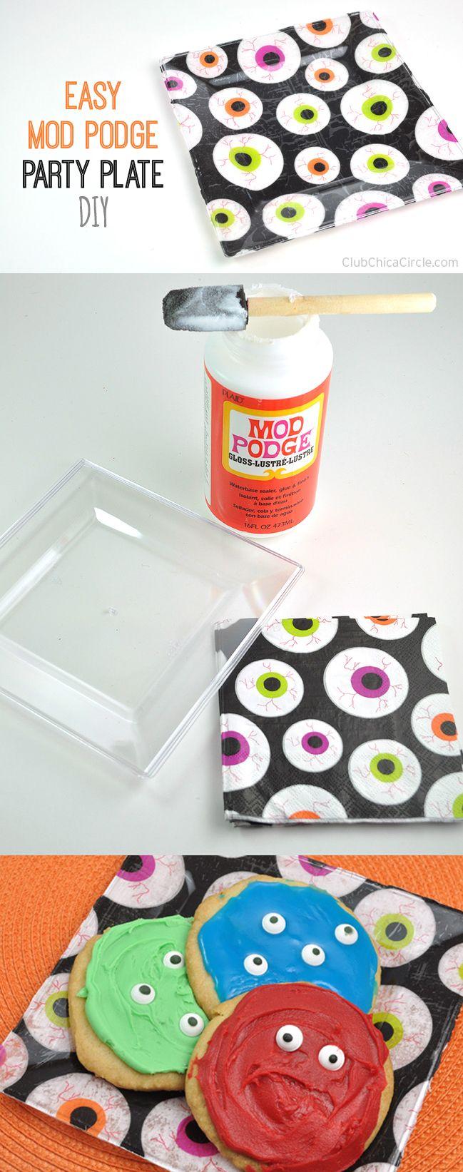 easy eyeball party plate craft idea with mod podge by club chica circle halloween birthdayhalloween decorationshalloween