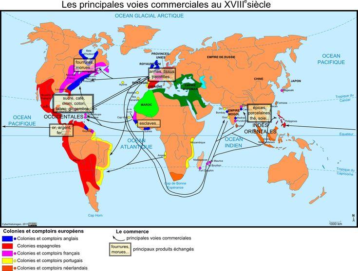 Les principales voies commerciales au XVIIIe siècle