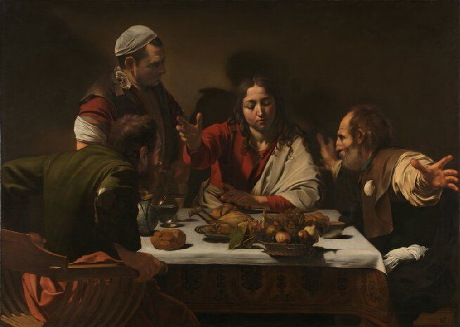 Michelangelo Merisi da Caravaggio, Supper at Emmaus (1601). Oil on canvas: London, National Gallery