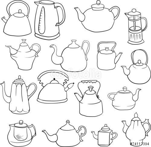 Vector: set of teapots