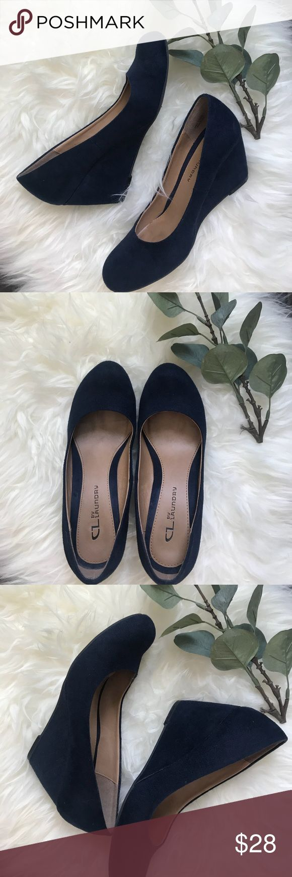 """Chinese Laundry faux vegan suede navy wedges Chinese Laundry faux vegan suede navy wedges. EUC, worn once. 3"""" heel. Chinese Laundry Shoes Wedges"""