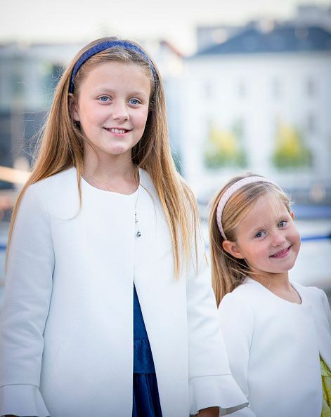 Princess Isabella of Denmark and her younger sister Princess Josephine of Denmark attends the 18th birthday celebration of their cousin Prince Nikolai at royal ship Dannebrog on August 28, 2017 in Copenhagen, Denmark.