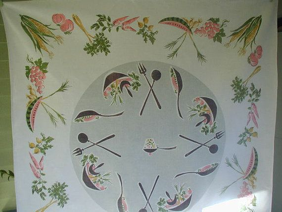 Extra Cute Mid-Century Tablecloth with Fruit, Vegetables, Cooking and serving Utensils, Great Color