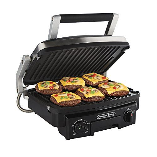 Proctor Silex 5 In 1 Indoor Countertop Grill Griddle Panini Press 25340 Indoor Grill Grilling Griddles