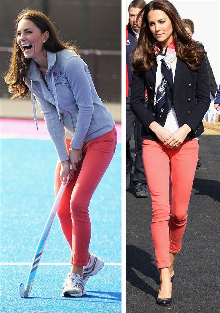 Kate knows how to dress up and down her coral-colored jeans. On left, she tried her hand at field hockey at the Riverside Arena in the Olympic Park on March 15 in London. On right, she wears the Team GB official supporter's scarf during the same visit.