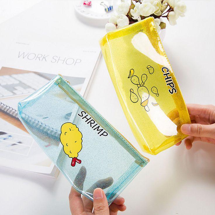 1 x Cartoon Potato chips milk PVC transparent pencil case storage bag korean stationery school pencil cases for girl
