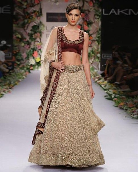 Cream Embroidered Lengha Set- Buy Lenghas,Shyamal & Bhumika Online   Exclusively.in