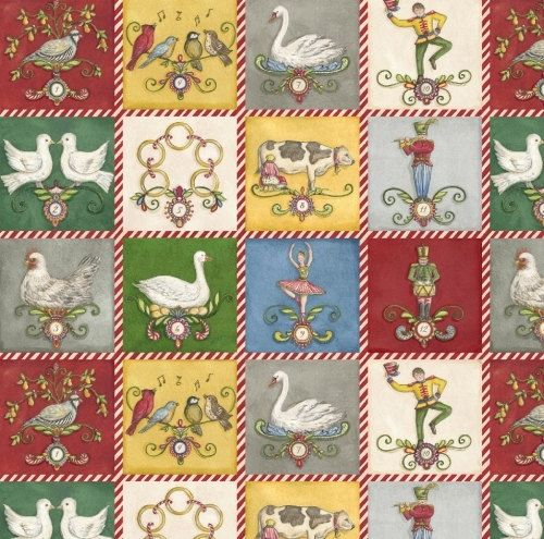 Fat Quarter 12 Days of Christmas Block Print by WarmKittyQuilts, $3.00