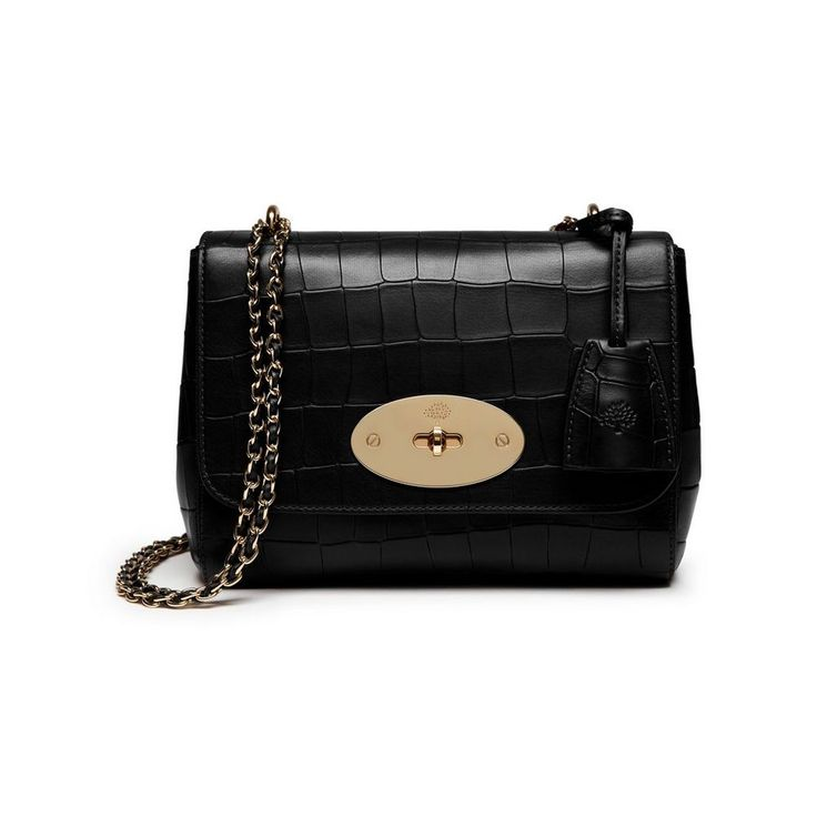 New Mulberry croc-embossed leather - Lily in Black Deep Embossed Croc Print