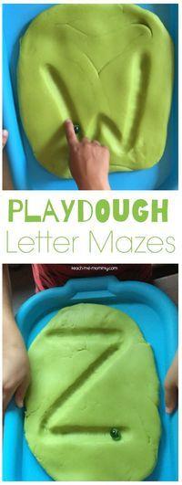 Playdough Letter Mazes. Great writing center for preschool or kindergarten.