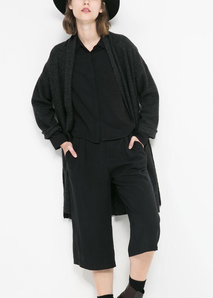 Spodnie palazzo capri tkanina tencel