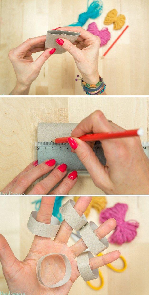 postup 1 Návod na ozdobné čepičky z příze a ruliček od toaletního papíru + Video…