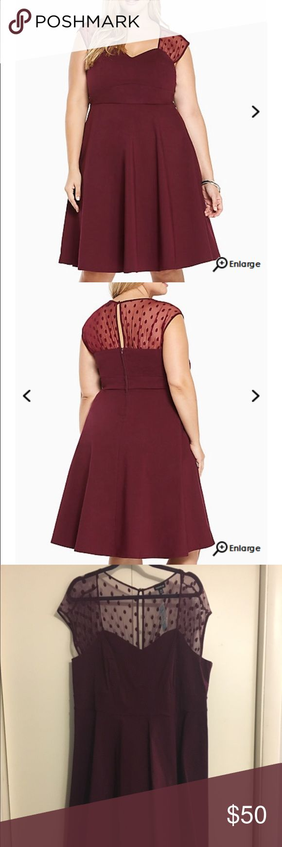 """Torrid Burgundy Dress NWT! Go ahead, do a spin; this dress deserves it. The burgundy knit body is endlessly stretchy, and totally figure defining with a fit-'n'-flare silhouette. A polka dot mesh inset is a total throwback touch that takes the swing style to the next level. Length 43.5"""" torrid Dresses"""