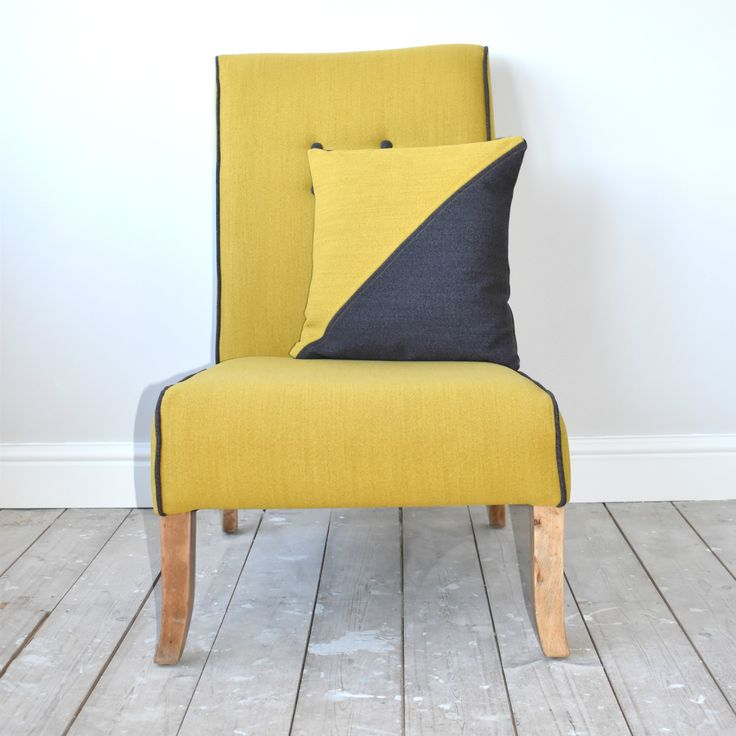 Mustard and grey reupholstered #vintage chair