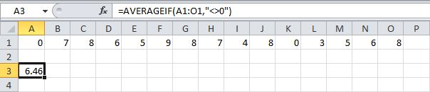 To average cells based on one criteria, use the AVERAGEIF function. For example, to calculate the average excluding zeros.