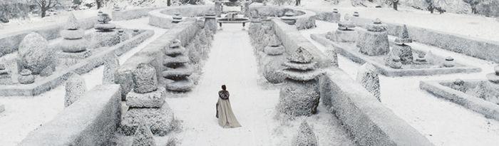 """La nieve es la gran ordenadora. / Inmensos parques desiertos donde se extienden palacios de cristal / y árboles irreales; / las estatuas se recortan en el hielo / como sobrevivientes de una gran catástrofe. / Pero un día te vas. / Los lentos palacios se deshielan, / los vidrios se vuelven transparentes; / yo resbalo entonces por las habitaciones / como quien no sabe caminar entre la nieve derretida. [fragmento de """"Los grandes ciclos"""", de Cristina Peri Rossi]"""