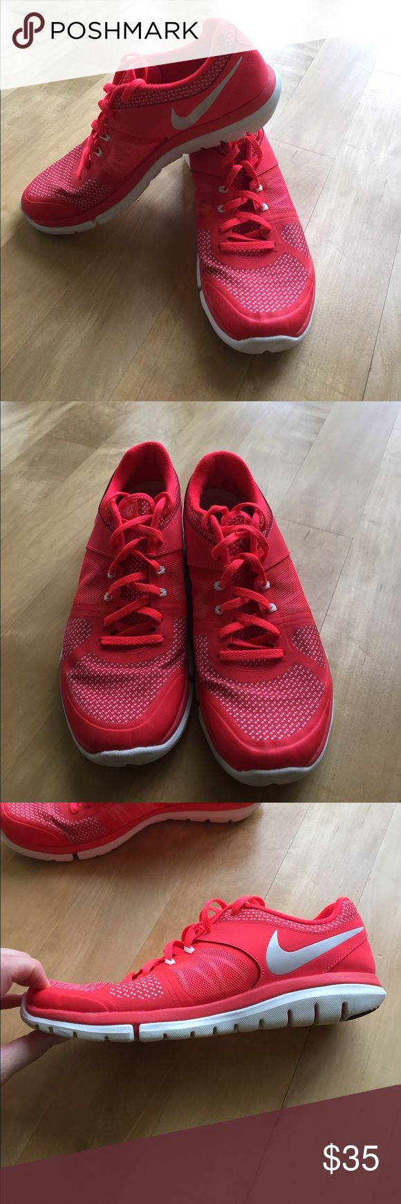 Red Nike Flex shoes Red Nike Flex shoes. In excellent condition. No stains or flaws. COMES WITH BOX Nike Shoes Athletic Shoes