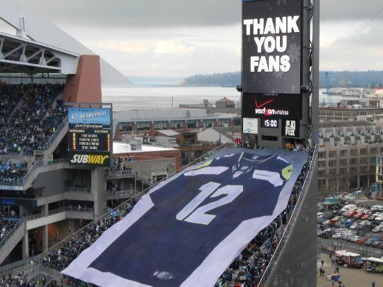 Seahawks celebrate the 12 th man