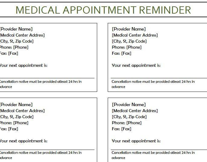 Appointment Reminder Card Template Lovely Medical Appointment Reminder My Excel Templates Card Templates Free Card Template Appointment Cards