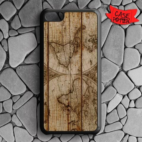 Old World Map Wood iPhone 5C Black Case