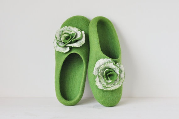 Felted slippers for woman  Green & White  Made to by ShpilkaFelt, $65.00