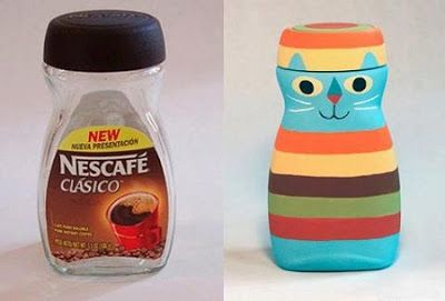 Adornos hechos con frascos de café ~ Portal de Manualidades