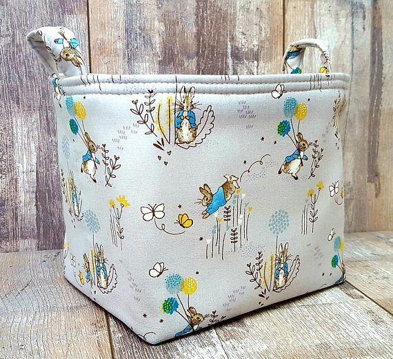 BUNNY RABBIT HAMPER Grey Fabric Gift Bag Small Storage
