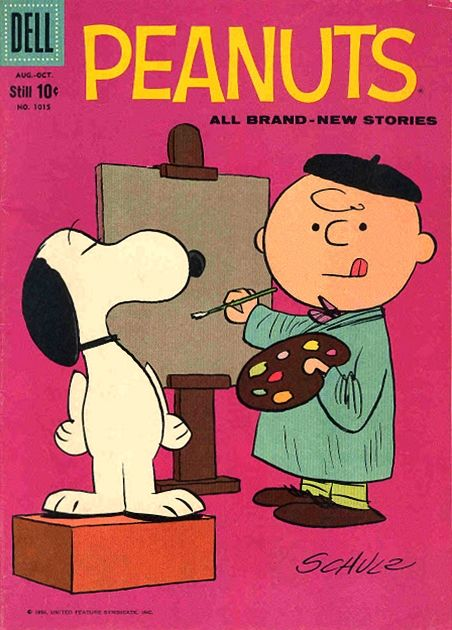 Cover art for Peanuts issue no. 1015, based on the 1950-60s comic strip adventures of the Charlie Brown and Snoopy characters and printed as part of the Four Color series of comic books, published by Dell, United States, 1959, by Charles Schulz.