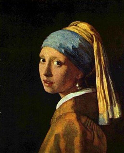 La Ragazza col turbante (Ragazza con l'orecchino di perla) di Jan Vermeer, 1665-1666,  conservato nella Mauritshuis dell'Aia.