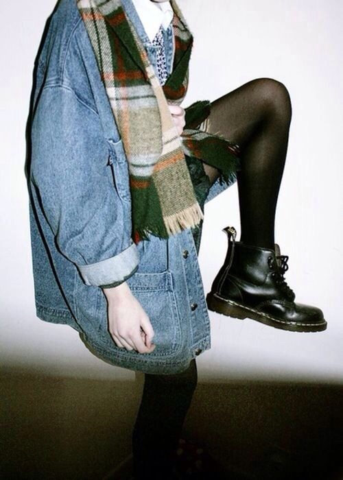 Docs, over-sized denim and plaid                                                                                                                                                                                 More