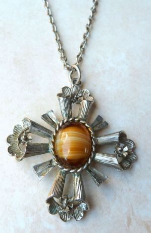 Vintage large mock tigers eye, cross pendant on original chain by vintage designer Exquisite.